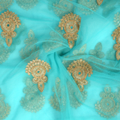 Green and Golden Polka Design Embroidery Net Fabric-60295