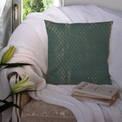 Green and Golden Silk Cushion Cover-35020