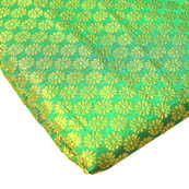Green and Golden Small Flower Brocade Silk Fabric-8242