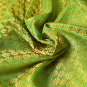 Green and Golden Small Flower Pattern Brocade Silk Fabric-8218