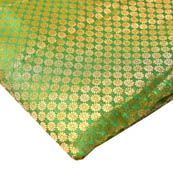 Green and Golden Small Flower Pattern Brocade Silk Fabric-8231