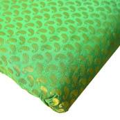 Green and Golden Small Paisley Design Brocade Silk Fabric-8196