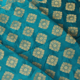 Green and Golden Square Design Brocade Silk Fabric-8328