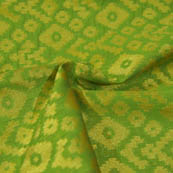 Green and Golden Square Pattern Brocade Silk Fabric-8043