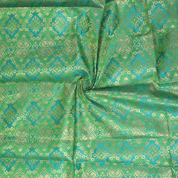 Green and Golden Square Pattern Brocade Silk Fabric-8350