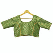 Green and Golden Square Silk Brocade Blouse-30103