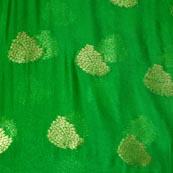 Green and Golden Tree Pattern Chiffon Indian Fabric-4350