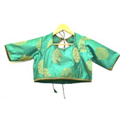 Green and Golden Tree Silk Brocade Blouse-30090