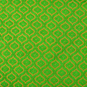 Green and Golden unique pattern brocade silk fabric-4625