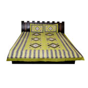 Green and Gray  Print Cotton Double Bed Sheet -0T11