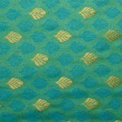 Green and Light Blue and Golden Leaves Brocade Silk Fabric-1025