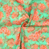 Green and Pink Floral Design Silk Organza Fabric-50025