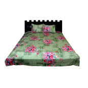 Green and Pink Floral Rajasthani Cotton Double Bed Sheet-0D32