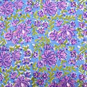 Green and Purple flower block print fabric-5195