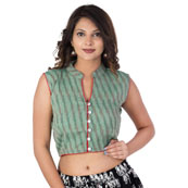 Green and Red Sleeveless Cotton Ikat Blouse -30209