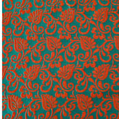 Green and Red leaf-flower brocade silk fabric-4624