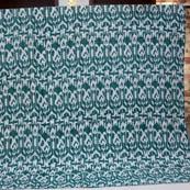 Green and White Handmade Indigo Kantha Quilt-4374