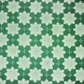 Green and White Sacred Pattern Block Print Cotton Fabric by the yard