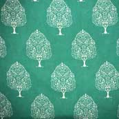 Green and White Tree Pattern Hand Block Print Cotton Fabric by the Yard