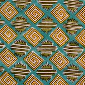 Green and White Yellow triangles Pattern Block Print Cotton Fabric