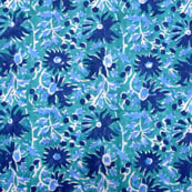 Green and blue large flower block print fabric-5207