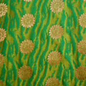 Green and golden silk fabric-5035