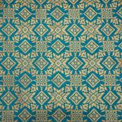 Green and golden star shape brocade silk fabric-4972
