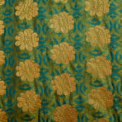 Green-blue and golden silk fabric-5032