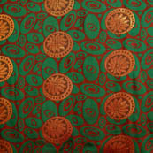 Green-brown and Golden Circular shape brocade silk fabric-5042