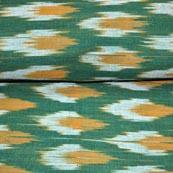 Green orange and White Ikat Fabric
