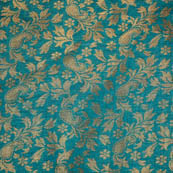 Green paisley flower shape brocade silk fabric-4964