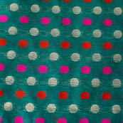 Green-red-pink and silver polka pattern brocade fabric-4621