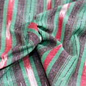 Green-red white and black ikat fabric-5093