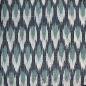 Grey White and Sea Green Ikat Fabric by the Yard