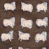 Grey and White Cow animal pattern Block Print Cotton Fabric