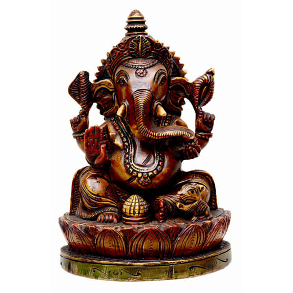 Haindpainted Dark brown Resin Ganpati Statue