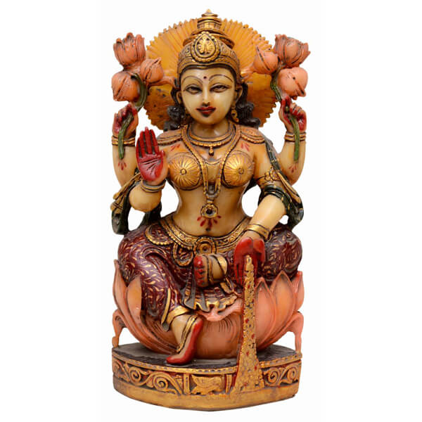 Hand painted Saraswati Devi Statue