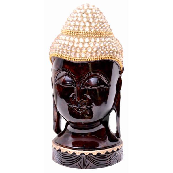 Handcarved teak wood buddha head