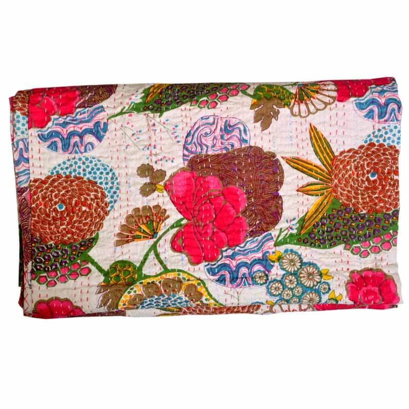 Handmade Floral Print Cotton Kantha Quit
