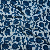 Indigo Blue Block Print Cotton Fabric-14596