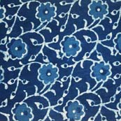 Indigo Blue and White Floral Printed Indian Cotton Fabric by the yard