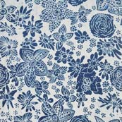 Indigo Blue and White Multi Flowers Indian Cotton Fabric by the yard