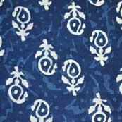 Indigo Blue and White Paisley Hand Block Print Cotton Fabric