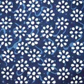 Indigo Blue and White Sanganeri Hand Block Print Cotton Fabric