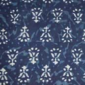 Indigo Blue and White Sanganeri Print Cotton Fabric by the Yard