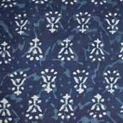 Indigo Blue and White Sanganeri Print Cotton Fabric by the Yard