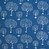 Indigo Blue and White Tree Pattern Hand Block Cotton Fabric