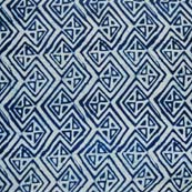 Indigo Blue and White Tringle Indian Cotton Fabric by the yard