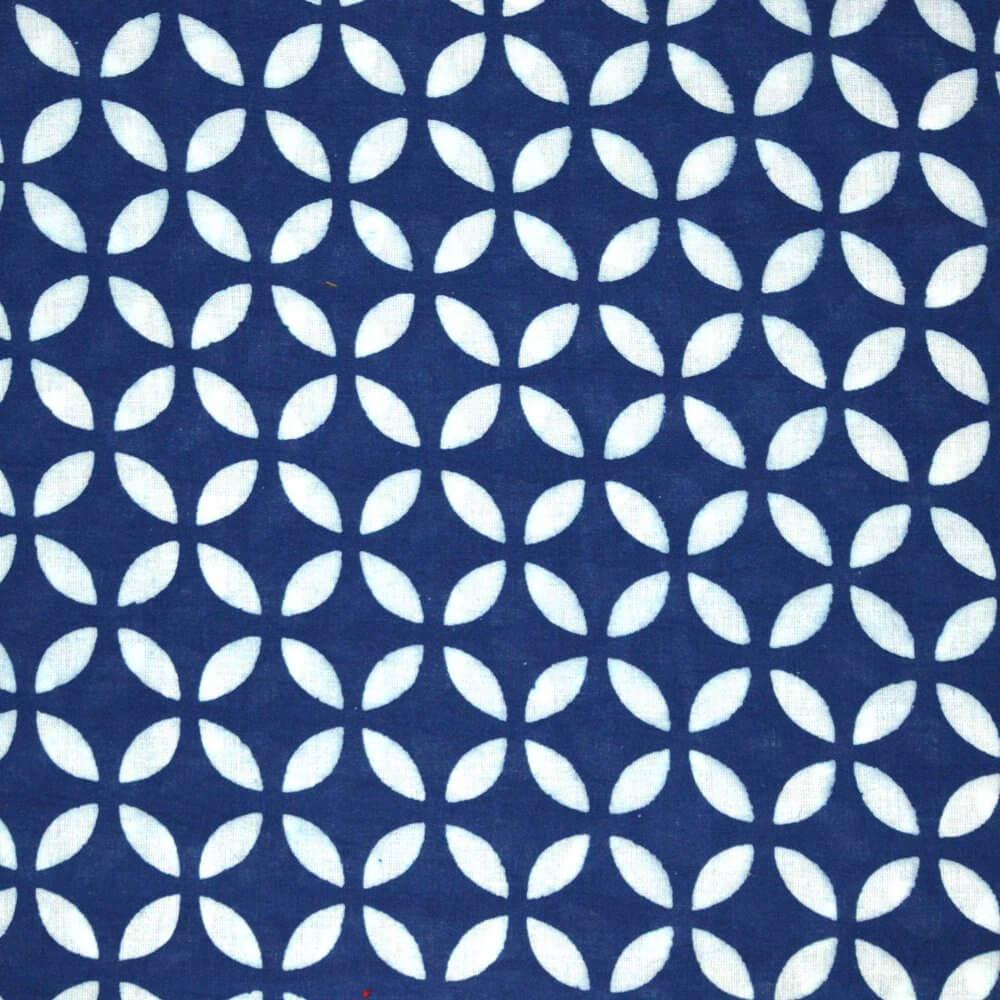 Indigo Blue and White Unique Design Cotton Fabric by the Yard