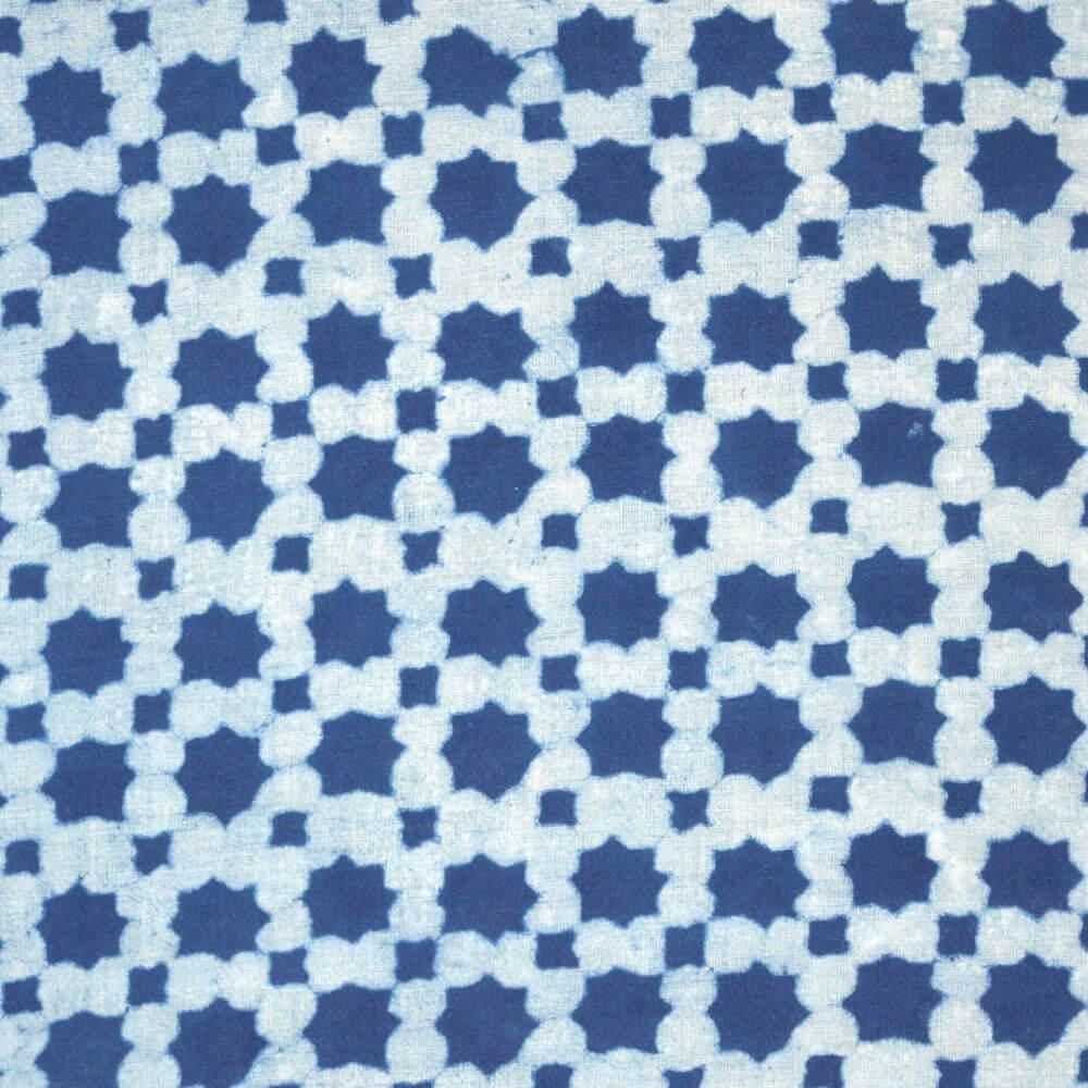Indigo Blue and White Unique Block Print Indian Cotton Fabric